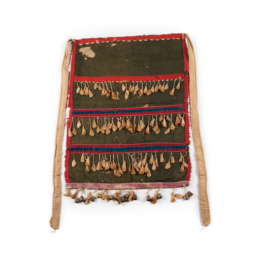 Tsep or dance apron, dark green with tan and red trim, sewn in four sections with 4 horizontal rows of puffin beaks