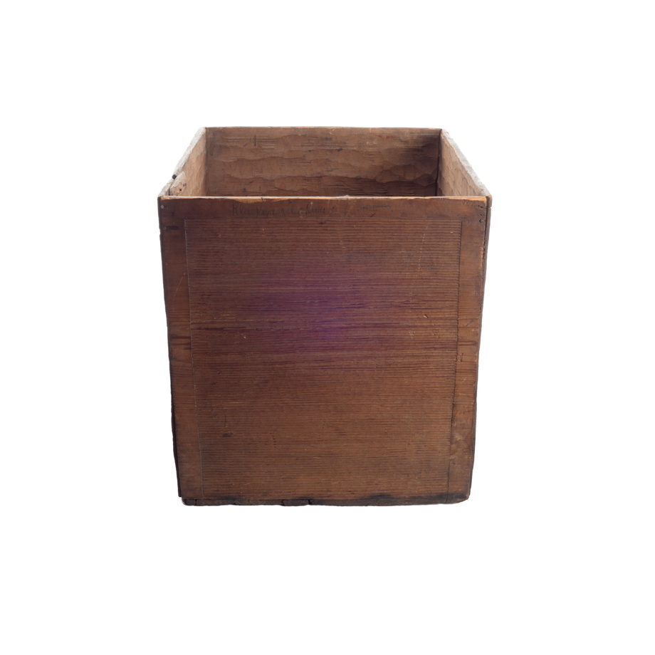 Kawatsi or Bentwood box, made of cedar, simple design of carved horizontal lines with a 5-7cm border of plain wood