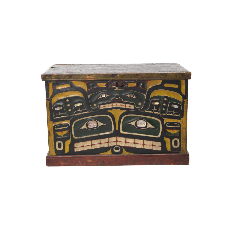 A Kawatsi or Treasure Box with lid, carved and painted on three sides, back side is unfinished
