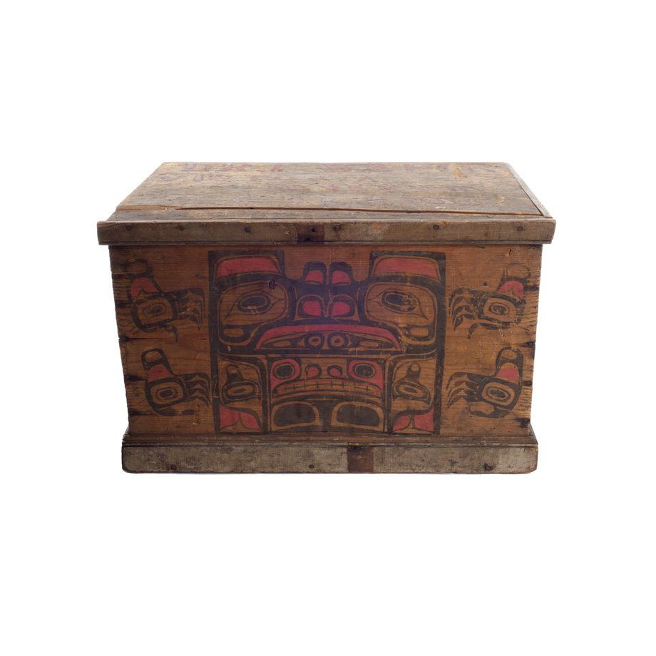 A Kawatsi or Treasure Box with lid, cedar with black and red ornamentation