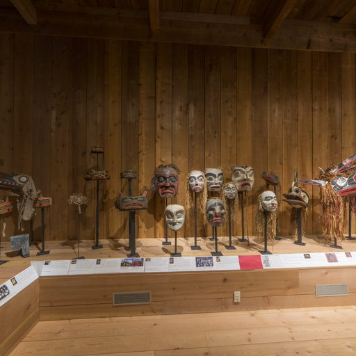 Corner of the Potlatch Gallery showing a group of masks and headdresses from the potlatch collection