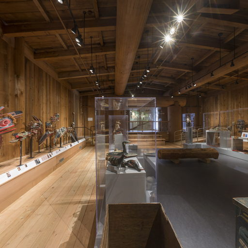 View from the west end of the Potlatch Gallery showing the north side and entrance wall.