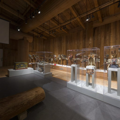 Images shows the centre and north wall of the Potlatch Gallery.