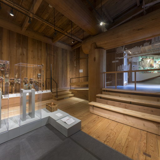 View from the centre of the Potlatch Gallery towards the northeast corner and entrance wall.