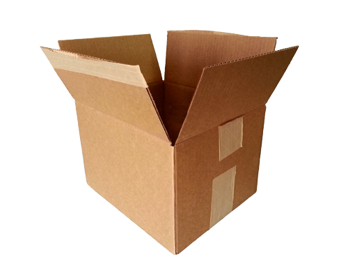 A photograph of a cardboard box being opened