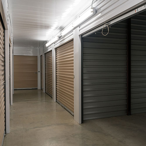 Indoor self storage units with one door open
