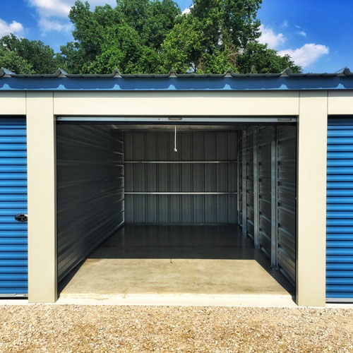 Photograph of a blue roll up self storage unit at St. Joe Self Storage