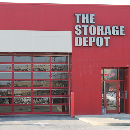 A photograph of the exterior of The Storage Depot front office