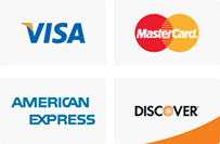 Image accepted credit card logos which include American Express, Mastercard, Visa and Discover