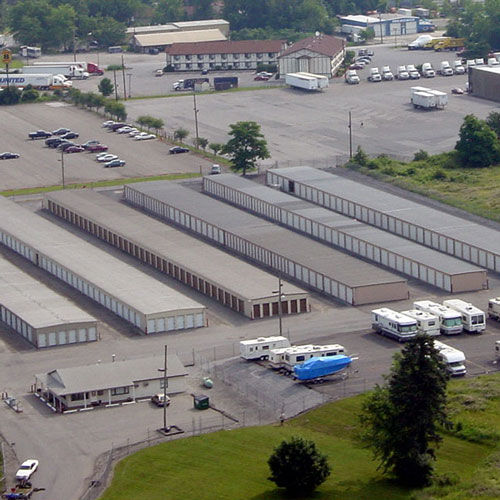 Aerial photograph of self storage units