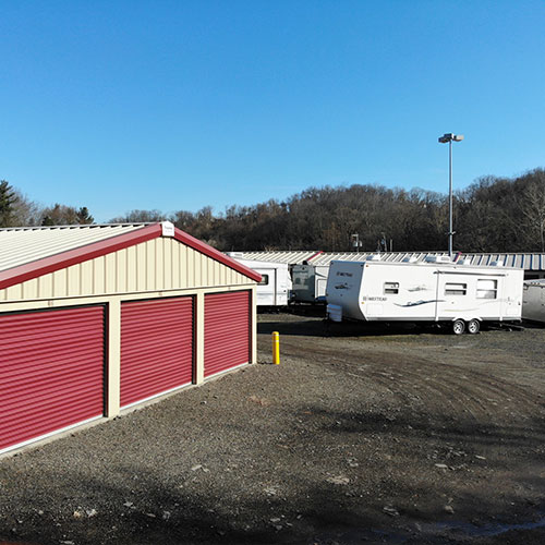 Self storage units and parked recreational vehicles