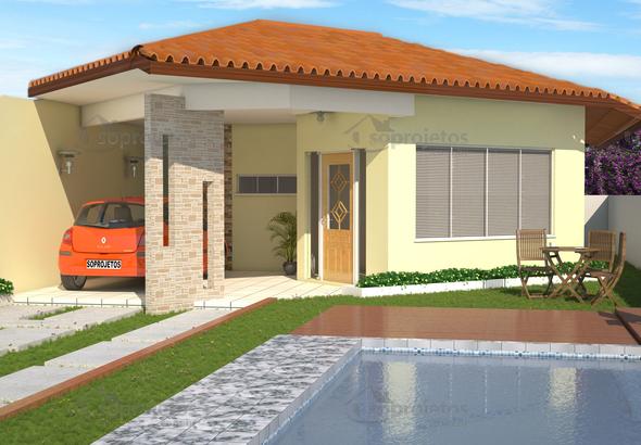 Planta de casa modelo de casa t rrea com 3 quartos c d for Casa moderna 6x6