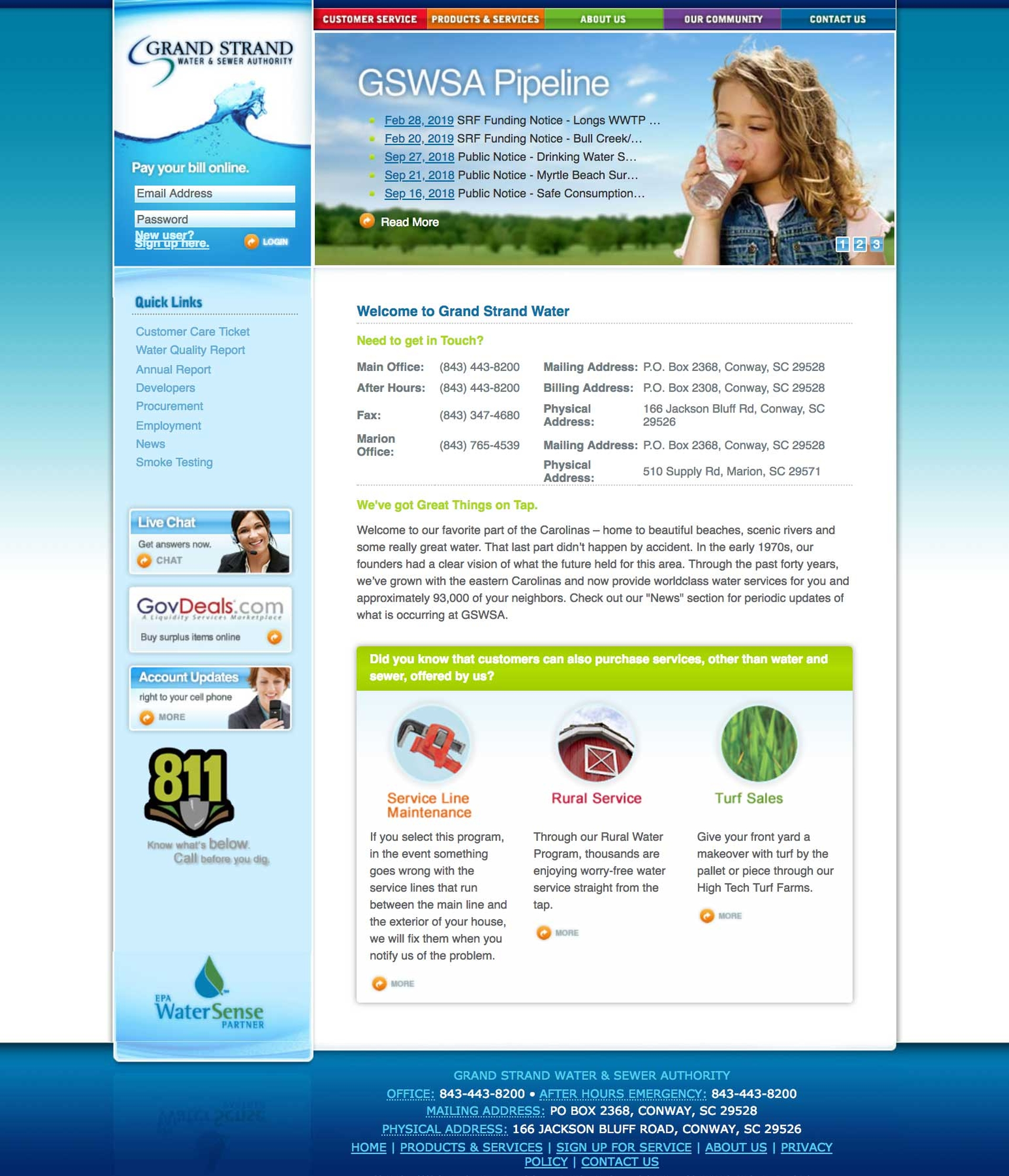 Grand Strand Water & Sewer Website
