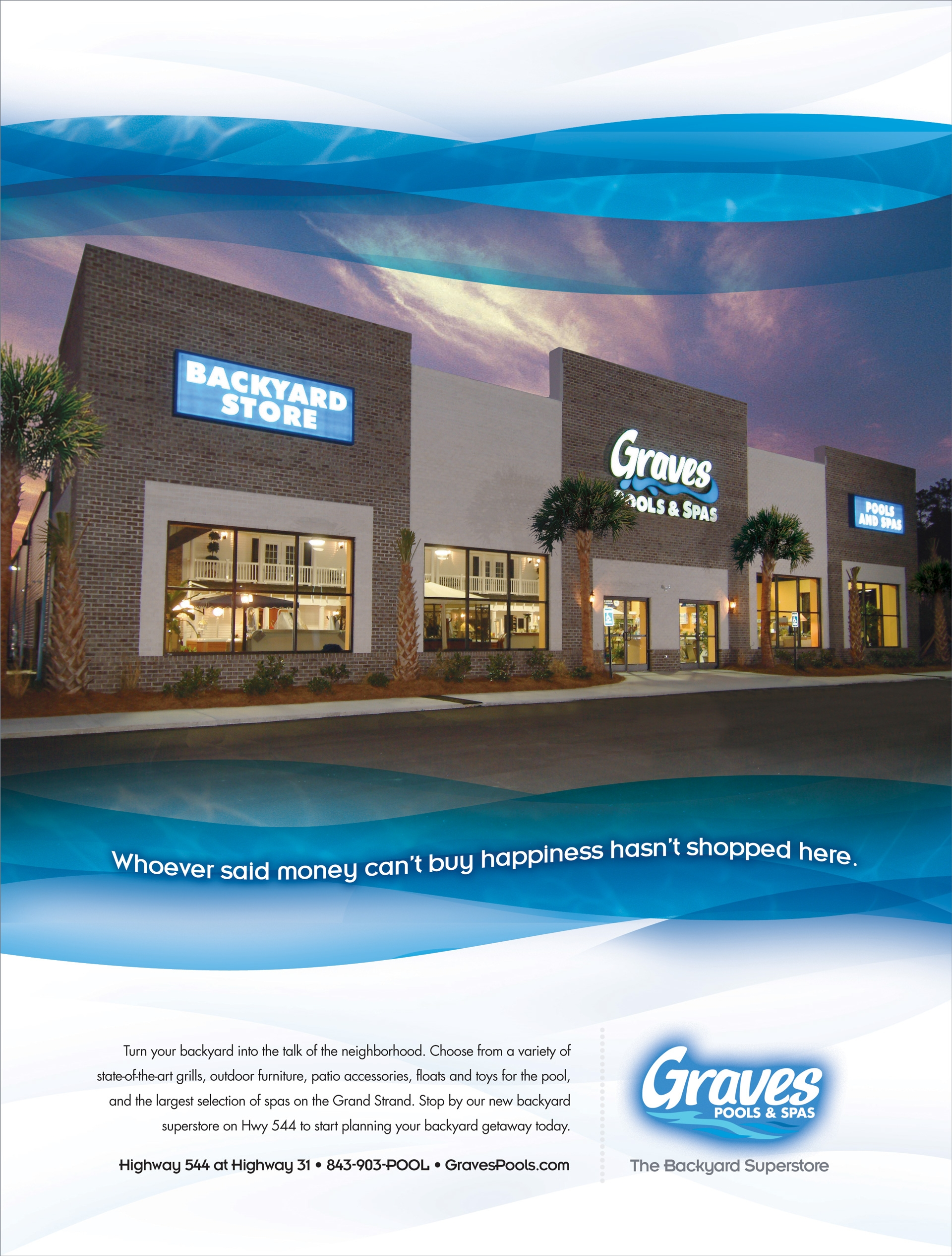 Grave Pools and Spas Print Advertising