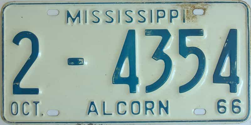 1966 Mississippi license plate for sale
