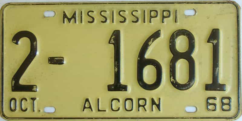 1968 Mississippi license plate for sale