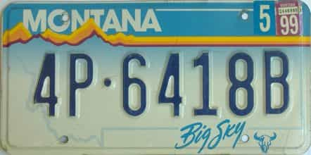 1999 Montana (Single) license plate for sale