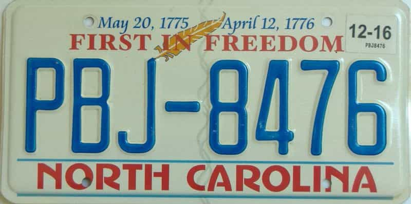 2016 North Carolina license plate for sale