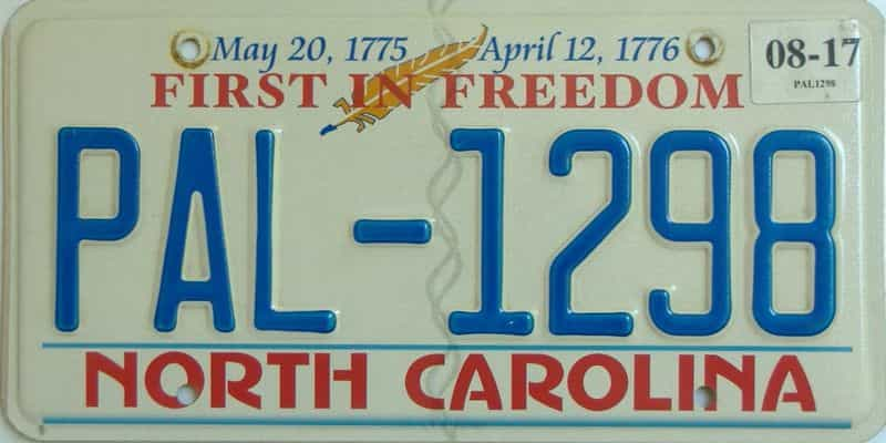 2017 North Carolina (Natural) license plate for sale