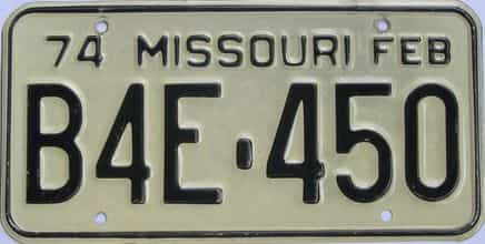 1974 Missouri (Single) license plate for sale