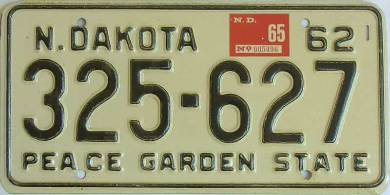 1965 North Dakota  (Single) license plate for sale