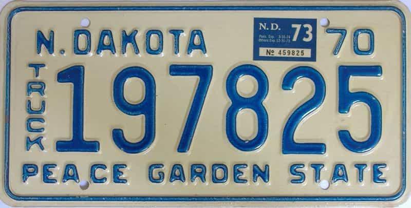 1973 North Dakota  (Truck) license plate for sale