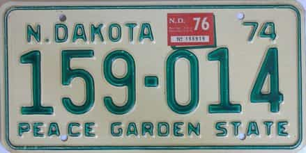 1976 North Dakota (Single) license plate for sale