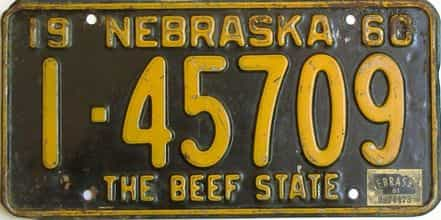 1961 Nebraska (Single) license plate for sale
