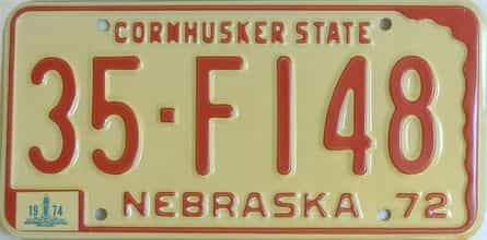 1974 Nebraska (Natural Single) license plate for sale