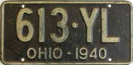 1940 Ohio (Single) license plate for sale