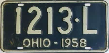 1958 Ohio (Single) license plate for sale