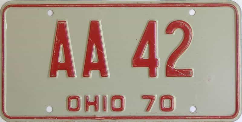 1970 Ohio  (Single) license plate for sale