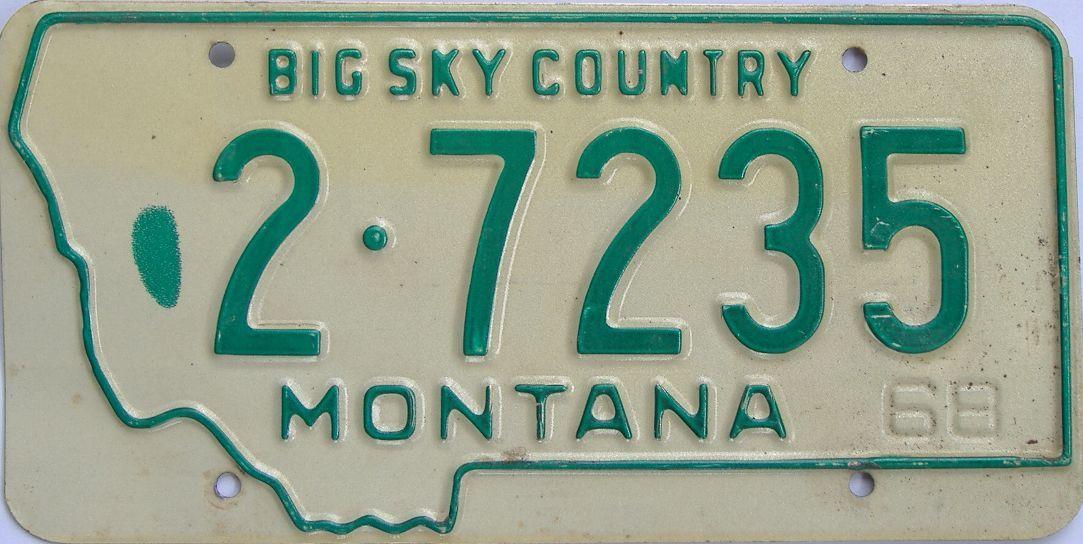 1968 Montana (Single) license plate for sale
