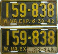 1943 West Virginia (Pair) license plate for sale
