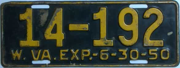 1950 West Virginia license plate for sale