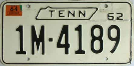 1964 Tennessee (Single) license plate for sale