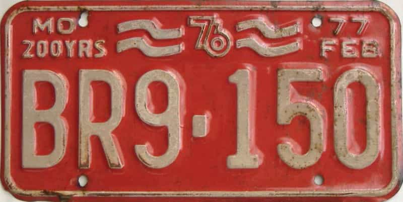 1977 Missouri  (Single) license plate for sale