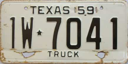 1959 Texas (Single) license plate for sale