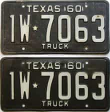 1960 Texas (Truck) license plate for sale