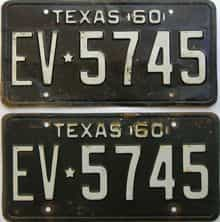1960 Texas  (Pair) license plate for sale