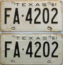 1961 Texas  (Pair) license plate for sale