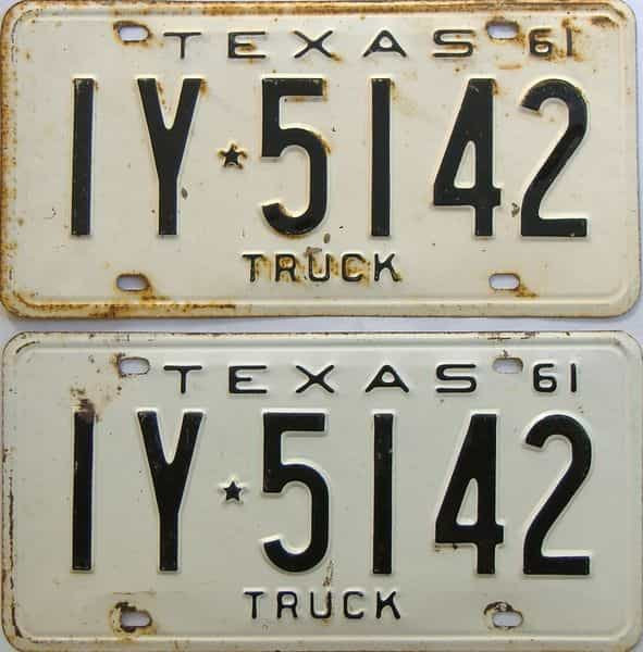 1961 Texas  (Truck) license plate for sale