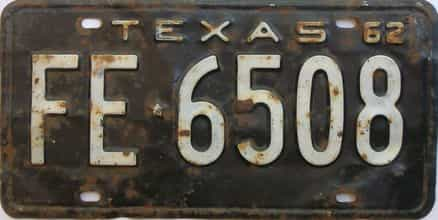 1962 Texas (Single) license plate for sale