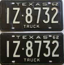 1962 Texas (Pair) license plate for sale