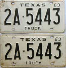 1963 Texas  (Pair) license plate for sale
