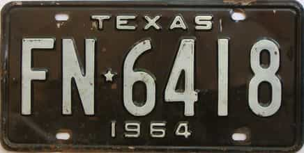 1964 Texas (Single) license plate for sale