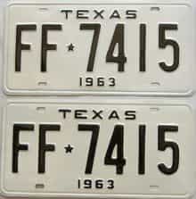 RESTORED 1963 Texas  (Pair) license plate for sale