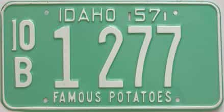 1957 Idaho (Single) license plate for sale