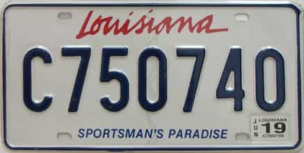 2019 Louisiana license plate for sale