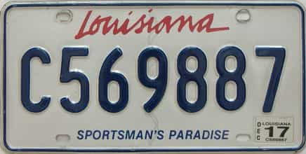 2017 Louisiana license plate for sale